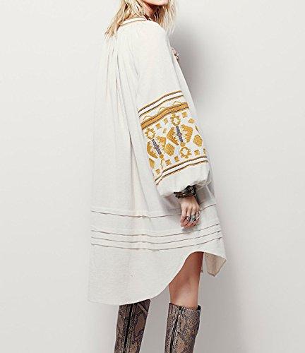 Damen Sommer Lange Ärmel Beiläufig Baumwolle Bestickt Kleider Beige