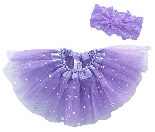 Dancina Baby Tüllrock Sternchen Tutu Set mit Haarband Lavendel Glitzer 6-23 Monate (Tutu Glitzer)
