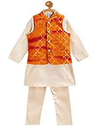 Campana Boys Kurta Set with Jacket - Gold & Orange