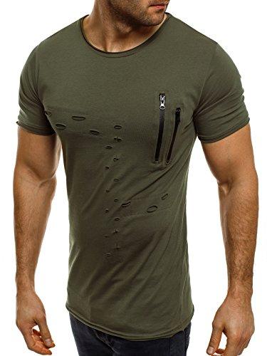 OZONEE Herren T-Shirt mit Motiv Kurzarm Rundhals Figurbetont BREEZY 302 Grün