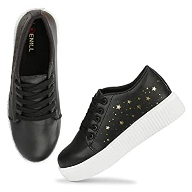 Denill Latest Collection, Comfortable & Fashionable Sneaker Shoes for Women's and Girl's (3 UK/India (36EU), Black-Black)