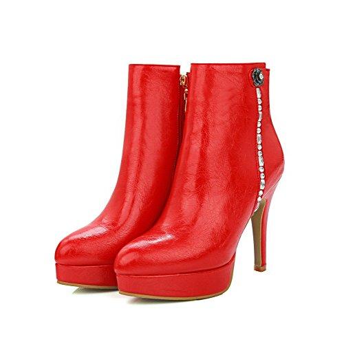 AllhqFashion Damen Reißverschluss Rund Zehe Hoher Absatz Niedrig Spitze Stiefel, Rot, 40