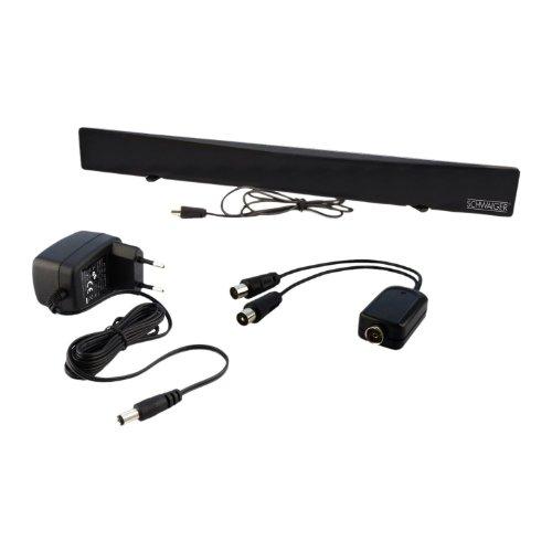 Aktive DVB-T Zimmerantenne für UKW/VHF/UHF inkl. Signaltrenner schwarz ()