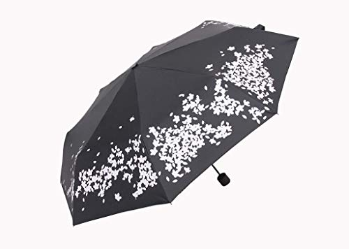 JFFFFWI Regenschirme Sakura Watering Color Change Folding Weibliche Sonne und Regen Dual-Use Black Glue Sonnenschutz Anti-UV-Sonne (Folding Rack Drucken)