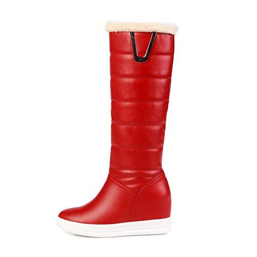 VogueZone009 Damen Niedriger Absatz Ziehen auf Hoch-Spitze PU Leder Stiefel, Weiß, 41