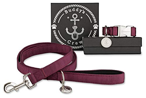 Buddy´s Crew Designer Hundehalsband/Halsband mit Leine aus Nylon mit Metallverschluss & Anhänger (L, Burgundy Wine) -