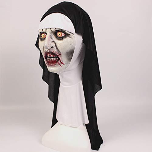 n erschrocken weiblichen Geist Kopfschmuck Nonne Horror Maske Kostüm unheimlich Latex Maske Kopftuch Partei liefert ()