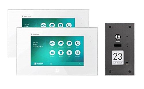 Türsprechanlage 2-Draht BUS mit 2x7' Display, 170° Kamera und Zoom Funktion für 1-Familienhaus