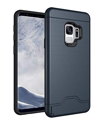 generisch Galaxy S9 Hülle, Dual Layer Brushed Armor Case, Hybrid PC+TPU Silikon mit Kickstand mit Kartenfach Handyhülle Multi-Winkel Ständer 2 in 1 Schutzhülle for Galaxy S9 (Galaxy S9, Blau) -