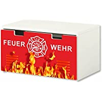 Preisvergleich für Stikkipix Feuerwehr Möbelfolie | BT32 | Möbelaufkleber mit Feuerwehr-Motiv | passend für die Kinderzimmer Banktruhe STUVA von IKEA (90 x 50 cm) | Möbel Nicht Inklusive