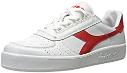 Diadora Men s B. Elite Tennis Shoe White/Ferrari Red 8 D(M) US