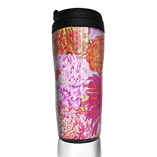 Travel Coffee Mug Collective Japanese Chrysanthemum Pink 12 Oz Spill Proof Flip Lid Water Bottle Environmental Protection Material ABS