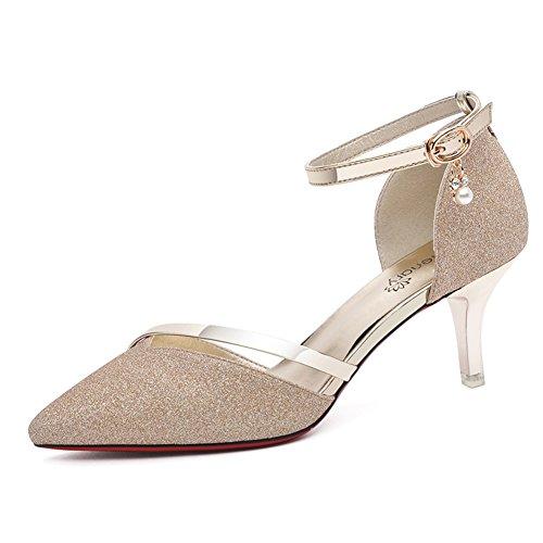 Lady,Summer,Sandales à Talon Moyens Fashion,Prong High Heels Talons Minces,Astuce Sandales De Liaison A