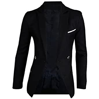 sourcingmap® Man Two Flap Pockets Padding Shoulder Long-sleeved Lining Blazer