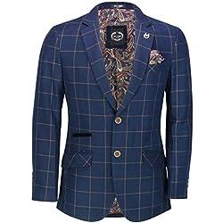 Xposed Chamarra para Hombre marrón en Azul Marino con Cuadros Escoceses y Escoceses a Medida Azul Azul Marino 56 ES
