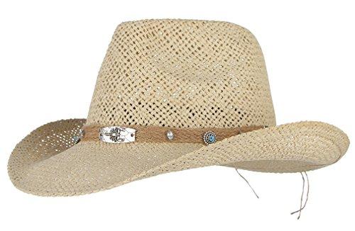 DEMU Herren Panamahut Cowboy Hut Partyhut Strohhut Raffia Sommerhut Trilby falbar Travellhut Beige