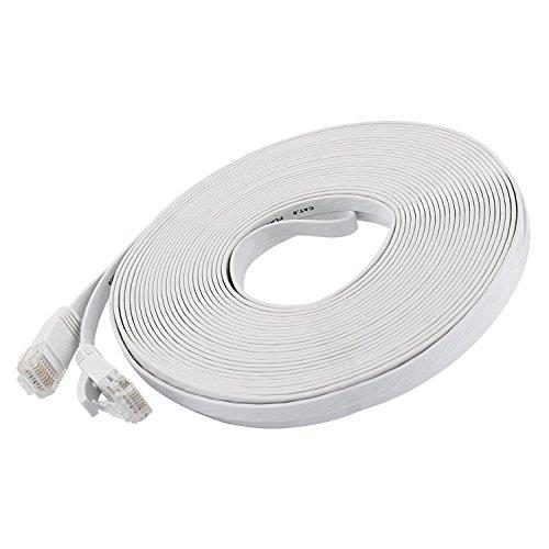 CAT6 Ethernet Gigabit Lan Netzwerkkabel (RJ45) CAT6 Flachkabel 10/100/1000Mbit/s Patchkabel kompatibel zu CAT.5 / CAT.5e / CAT.7 Switch/Router/Modem/Patchpannel/PS4/Wii/XBOX LOVICOOL Weiss 15m