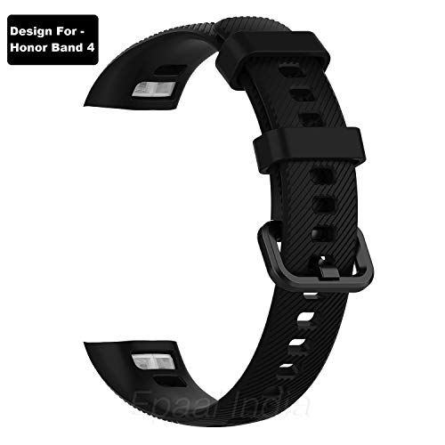 Epaal TPU Silicon Band Strap for Huawei Honor Band 4 Smart Band (Black)