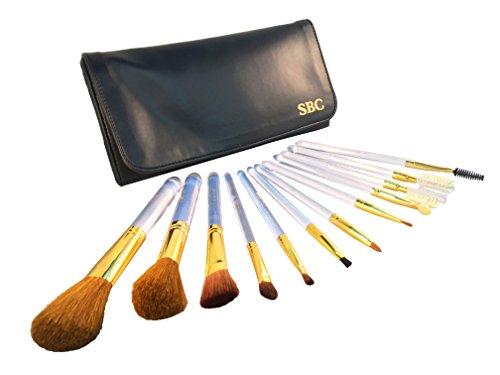SBC SBC126 Lot de 12 pinceaux de maquillage professionnels essentiels avec trousse de voyage souple style portefeuille