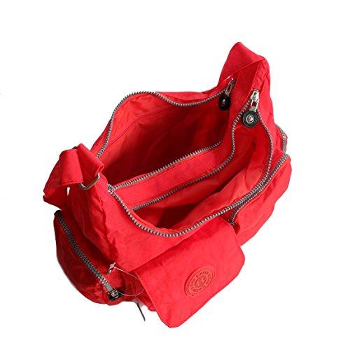 Bag Street borsone da viaggio borsa a tracolla Bodybag wandertasche Crinkle Nylon–präsentiert von ZMOKA® in diversi stili Colori, Rot (rosso) - 0 Rot