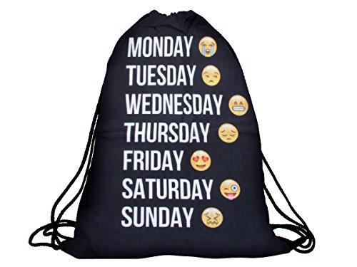 emoji sportbeutel Alsino Turnbeutel mit Spruch/Wochentage / Emoji/Emoticon / Hipster Rucksack/Gymbag Sporttasche/Stringbag / Sportbeutel/Jutebeutel/ Modell RU-118 Wochentag Emoticons