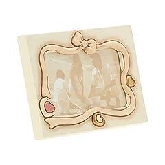 Idea Regalo - THUN - Cornice Portafoto da Tavolo - Cuore con Fiocchi - Color Avorio - Gres, Acciaio Inossidabile - 18,5 x 14 x 2 cm