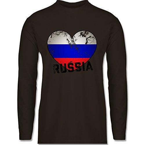 Shirtracer Fußball-WM 2018 - Russland - Russia Herz Vintage - Herren Langarmshirt Braun