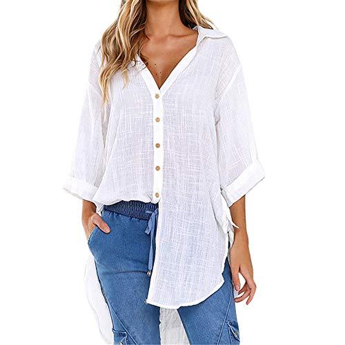 UYSDF Mode Damen Lose Taste Lange Hemd Baumwolle Tops Beiläufig T-Shirt Bluse (Folk Tanz Kostüm Kinder)