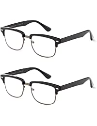Reading Glasses - Best 2 Pack For Men And Women Club Master Fashion Comfort Spring Arms & Dura-Tight Screws