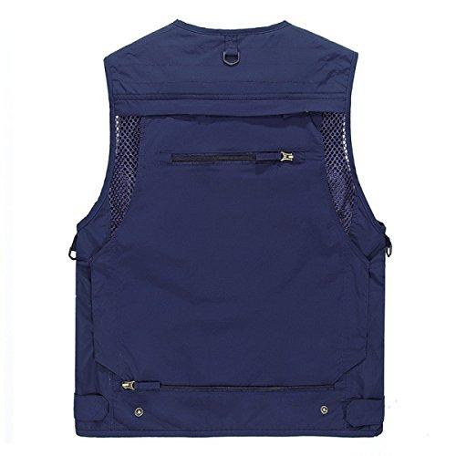 Männer Casual Vest Multi-Pocket-Fishing Multifunktions Velcro Dried Vest SapphireBlue
