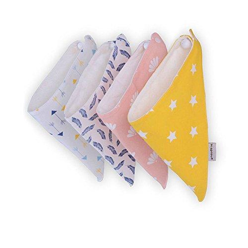 BabyIn 4 Pack BabyDew Bandana Lätzchen, 3 Schichten weichen Bambus Baumwolle wasserdicht Fleece-Lätzchen mit Snaps für Babys Drooling, Zahnen und Füttern
