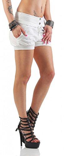 Damen Shorts Kurze Hose Chino Bermuda Pants in angesagten Farben ( 506 ) Weiß
