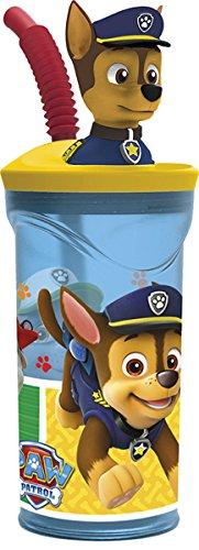 3D-Trinkbecher für Kinder mit ausziehbarem Strohhalm und Cartoon-Charakter, plastik, PawPatrol Boys, med