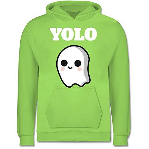 Kinder - Geist YOLO Motiv - 9-11 Jahre (140) - Limonengrün - JH001K - Kinder Hoodie ()