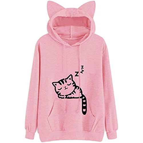 ropa kawaii para los mas guays Las mujeres Sudaderas Sudadera Kawaii Rosa patrón Cat Invierno Manga larga Sudadera con capucha para mujer Bts Hooed oído