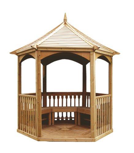Pavillon Hexagonal avec Plancher en Bois et Balustrade. Dimensions: 270 cm x 234 cm x Hauteur 310 cm