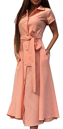 Donne Estate Vestito Camicie Vestito Fasciatura Abito Shirt Dress Collo Alto Maniche Corte A-line Casual Single Breasted Linea Vestito Rosa