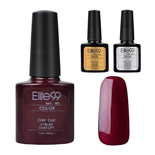 Elite99 Smalto Semipermanente UV LED Gel Ricostruzione Unghie Arte Set Kit 3pz(Colore Gel+Base&Coat Coat)-Fuchsia