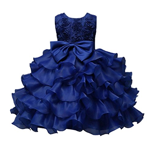 ❤️Kobay Kinder Baby Mädchen Blumen Geburtstag Hochzeit Brautjungfer-Festzug Prinzessin Abendkleid (120/5-6Jahr, Dunkelblau) (Weihnachtsmann-kostüm Für Kinder)