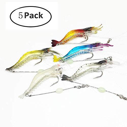 Simuer Luminous Weich Garnelen baite, 5 Pack Kunstköder Silikon Shrimp Lure with Hook Kit Angeln Köder mit Haken Süß-/Salzwasser Forelle Bass Lachs -