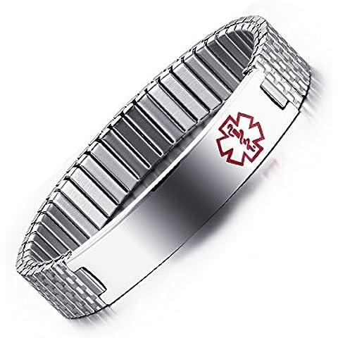 LianDuo Acciaio inossidabile Alert Medical Wristband braccialetto braccialetto d'argento per gli uomini e le donne, (Fortunato Braccialetto Della Pietra Preziosa)