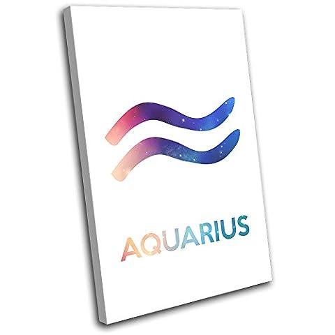 Bold Bloc Design - Zodiac Symbols Aquarius Space Starsign 75x50cm SINGLE Boite de tirage d'Art toile encadree photo Wall Hanging - a la main dans le UK - encadre et pret a accrocher - Canvas Art Print