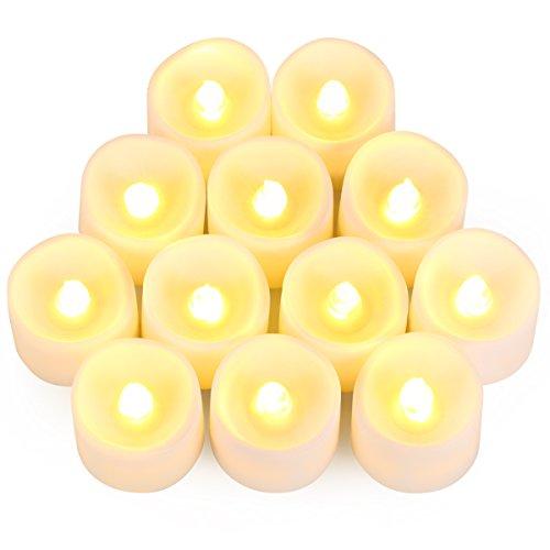 elektrisches teelicht AMIR LED Kerzen, 12 LED Flammenlose Kerzen, Weihnachten LED Teelichter, Elektrische Teelichter Kerzen für Halloween, Weihnachten, Party, Bar, Hochzeit ( Flicker Gelb)