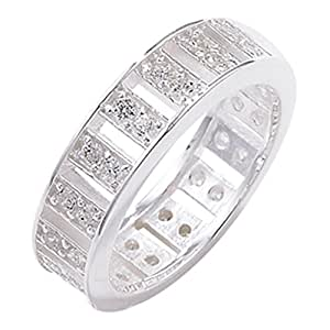 Sterling Silver Cubic Zirconia Wedding Band Ring - Size R