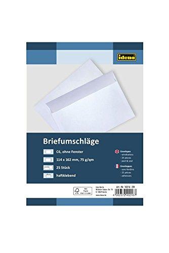 Idena 10216 - Briefumschläge DIN C6, 75 g/m², haftklebend, ohne Fenster, 25 Stück, FSC-Mix, weiß