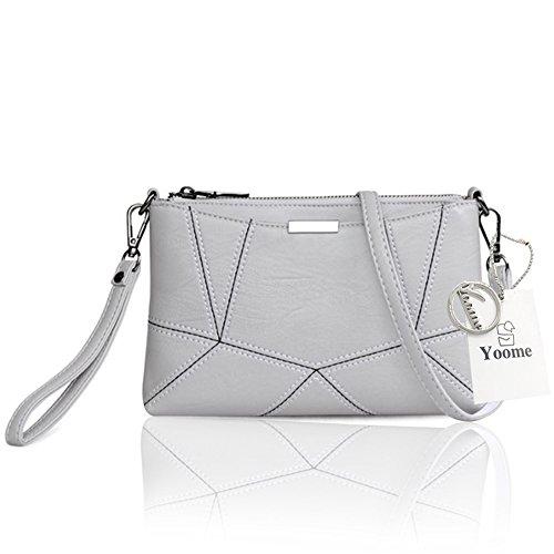 Yoome Retro Multilayer Große Kapazität Soft Flap Taschen Für Frauen Strap Bags Messenger Bag Aktenkoffer - Navy L.Grey