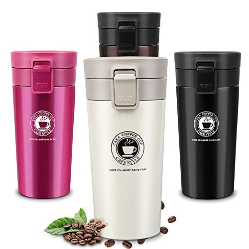 Etmury Thermobecher Travel Mug, Edelstahl Kaffeebecher Mit Filter, Thermo Becher 100% Auslaufsicher Doppelwandig vakuumisolierter Isolierbecher Autobecher für Heiße und Kalte (380ml)