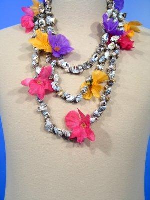 Muschelkette Halskette Blümchen Anemonen Hawaii Pink Strand Sommer -