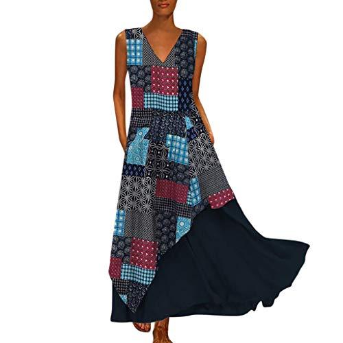 Damen Vintage Sommerkleid Long Kleid Mode Übergröße V-Ausschnitt Spleißen Bohemian ärmellose Maxikleid unregelmäßiger Saum Freizeitkleider Leinenkleid Tuchkleid Blusenkleid Z-Marine L
