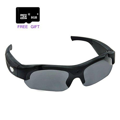 Sonnenbrille Kamera Videogerät mit 8GB Sd Karte, Zimingu Kamera Gläser Sport Sonnenbrille DVR Eyewear (1080P @ 30fps, 720P @ 60fps, 5MP Schwarz)